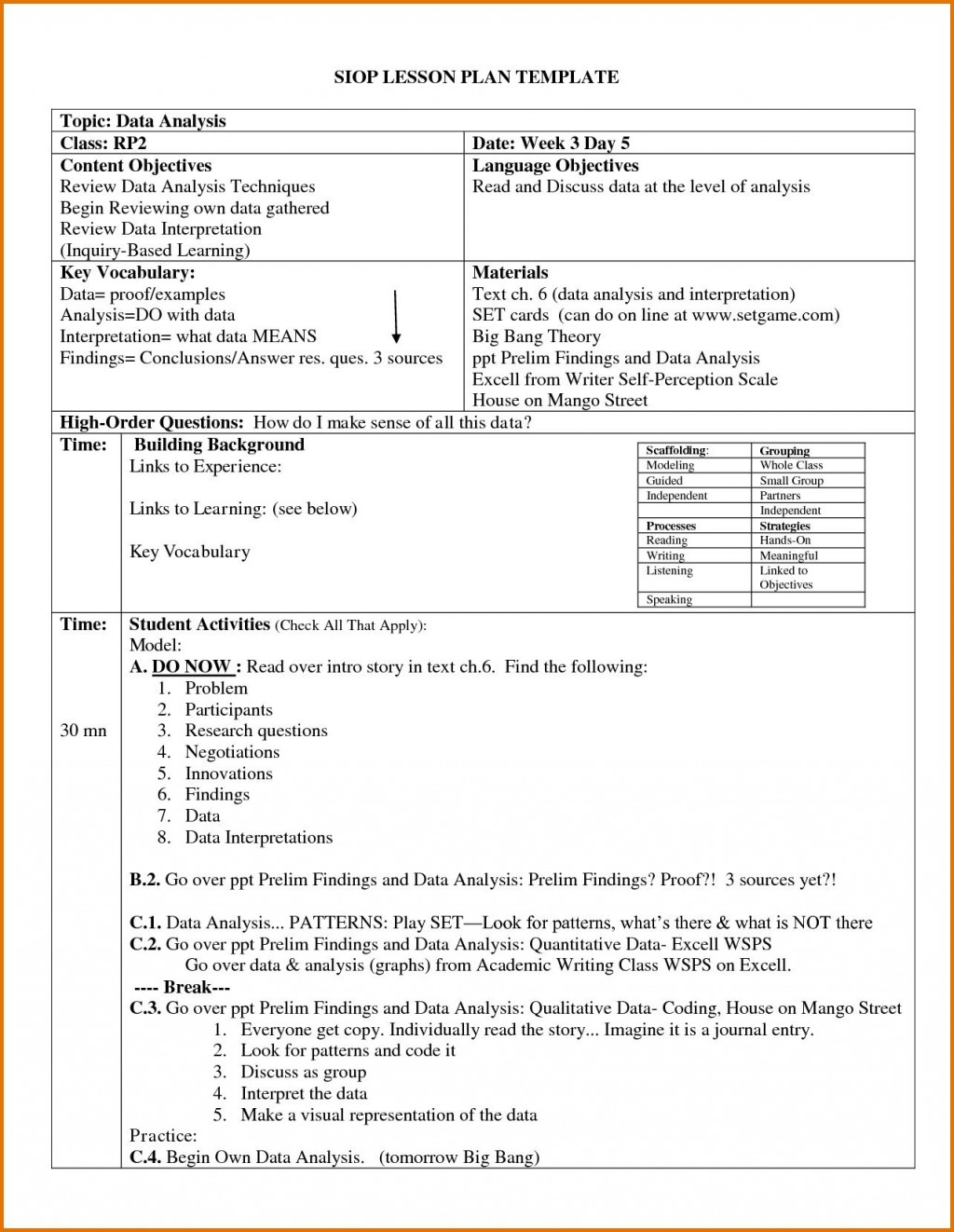 004 Archaicawful Siop Lesson Plan Template 1 High Def  Example First Grade Word Document 1stLarge