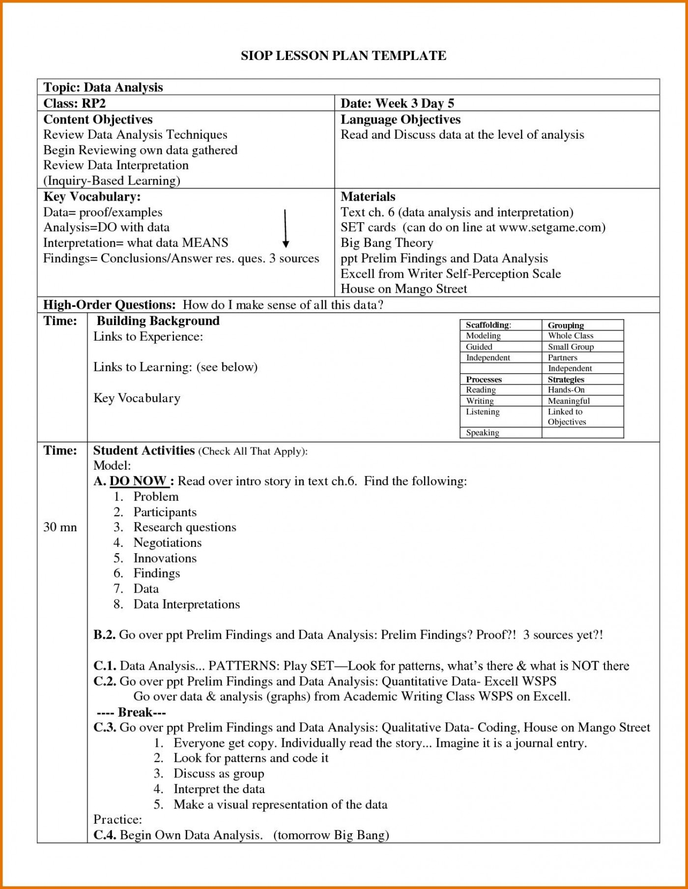 004 Archaicawful Siop Lesson Plan Template 1 High Def  Example First Grade Word Document 1st1400