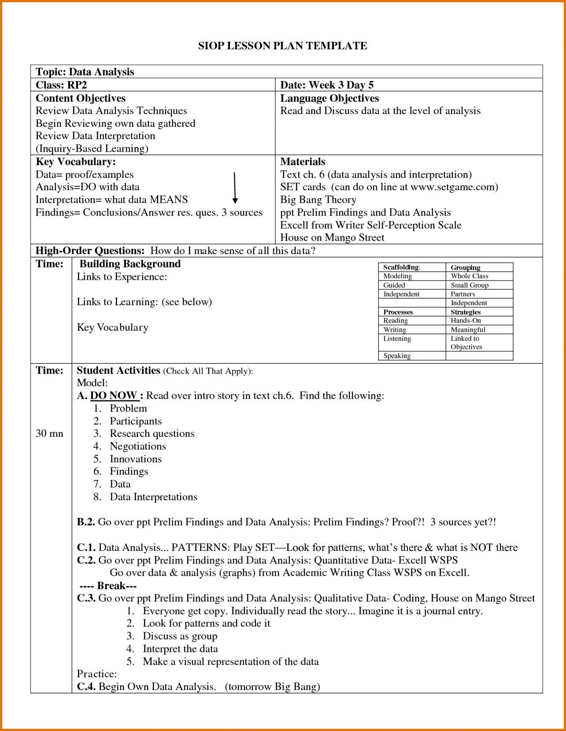 004 Archaicawful Siop Lesson Plan Template 1 High Def  Example First Grade Word Document 1st1920