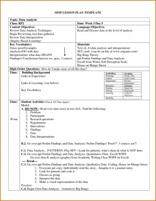 004 Archaicawful Siop Lesson Plan Template 1 High Def  Example First Grade Word Document 1st320