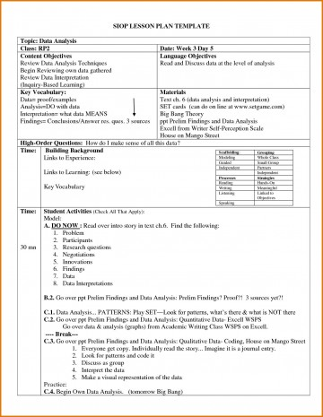 004 Archaicawful Siop Lesson Plan Template 1 High Def  Example First Grade Word Document 1st360
