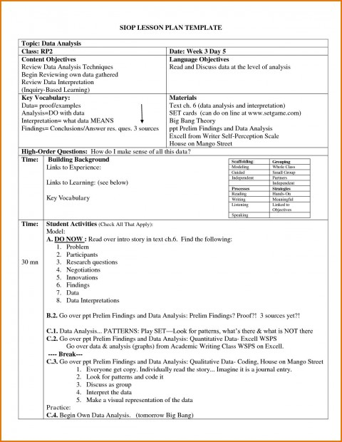 004 Archaicawful Siop Lesson Plan Template 1 High Def  Example First Grade Word Document 1st480