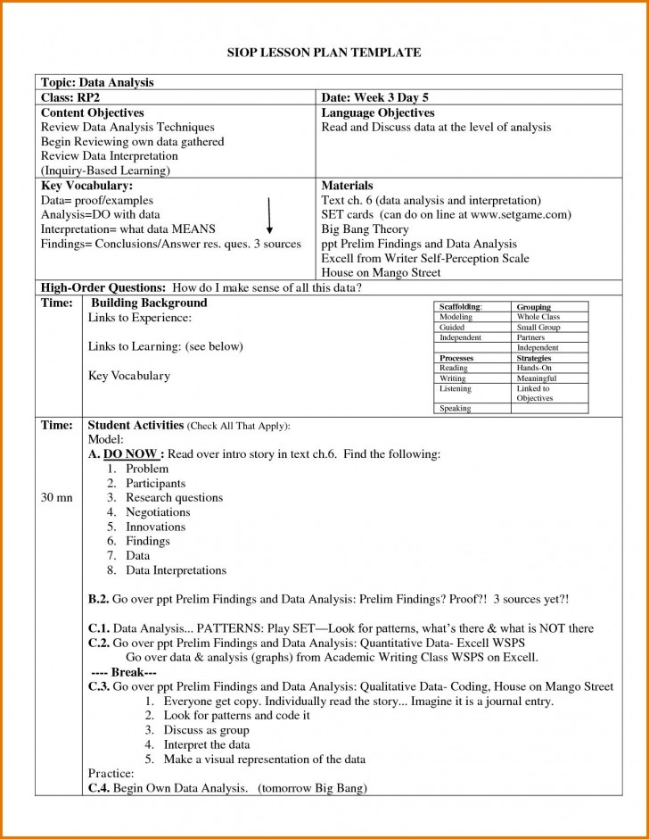 004 Archaicawful Siop Lesson Plan Template 1 High Def  Example First Grade Word Document 1st728