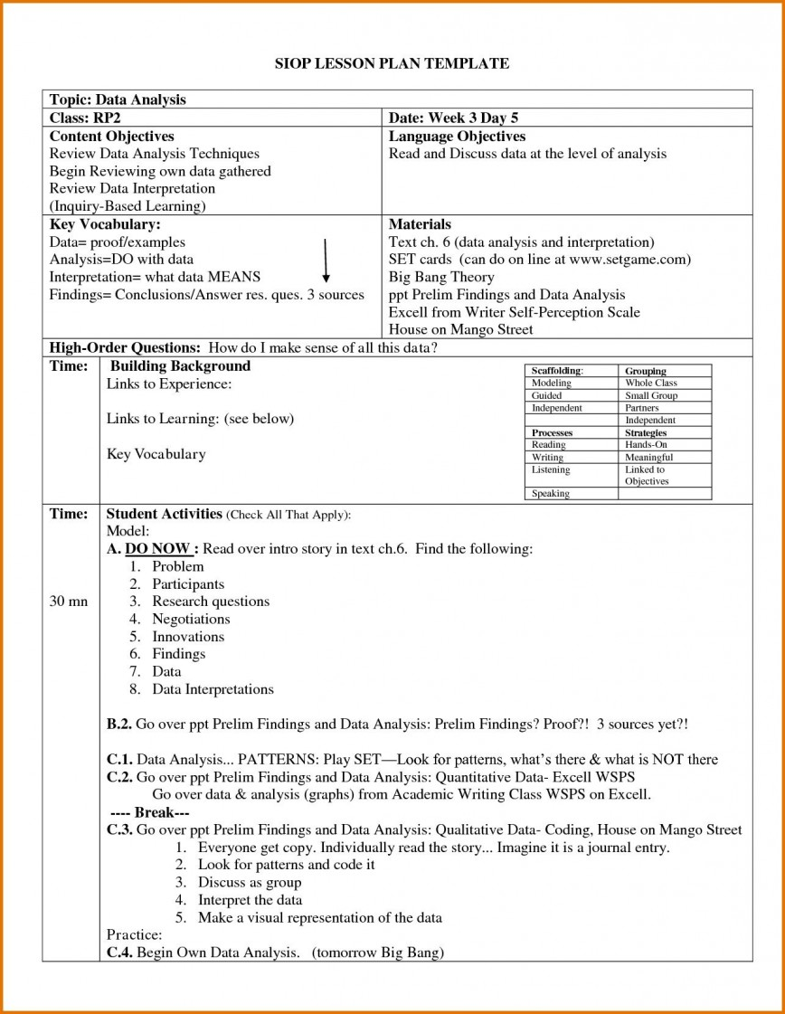 004 Archaicawful Siop Lesson Plan Template 1 High Def  Example First Grade Word Document 1st868