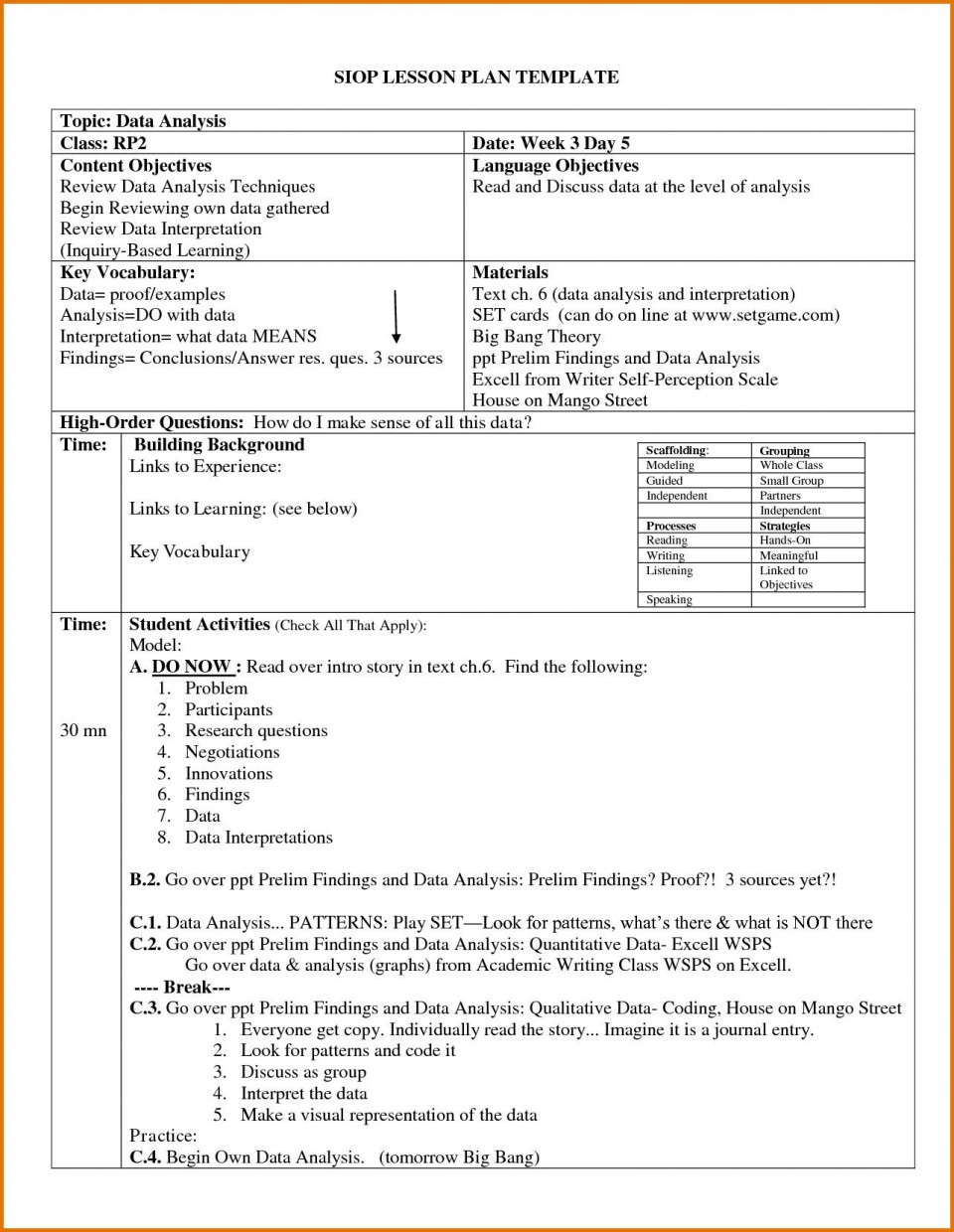 004 Archaicawful Siop Lesson Plan Template 1 High Def  Example First Grade Word Document 1st960