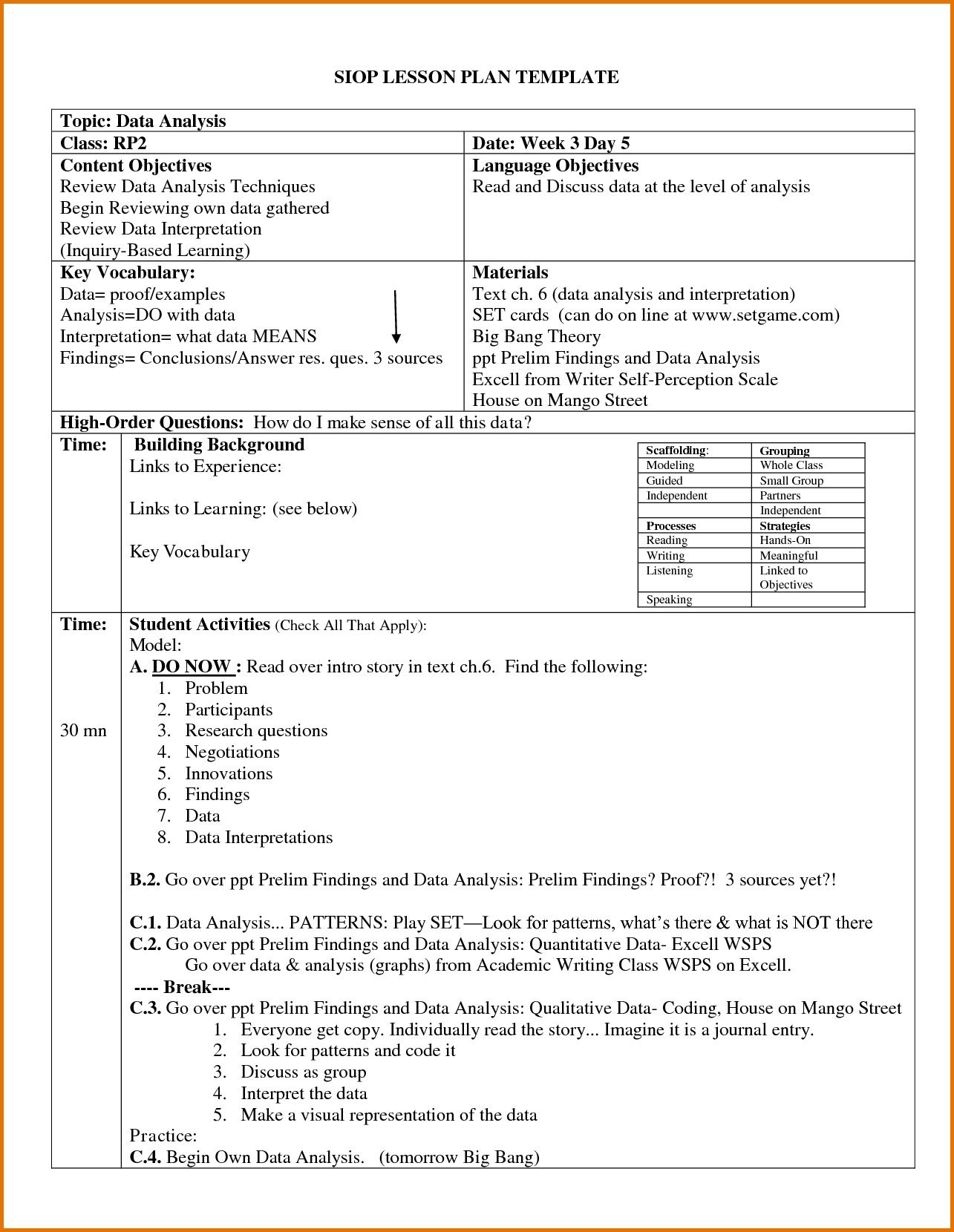 004 Archaicawful Siop Lesson Plan Template 1 High Def  Example First Grade Word Document 1stFull