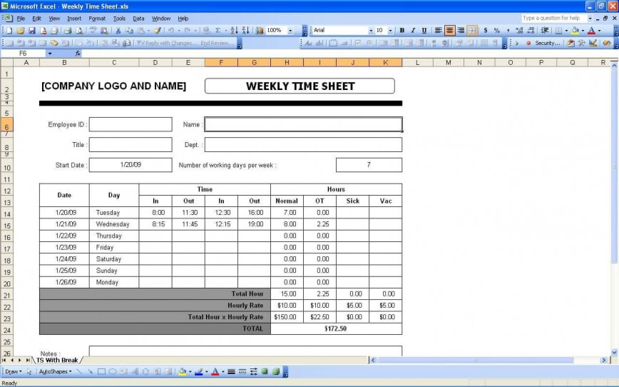 004 Archaicawful Weekly Timesheet Template Excel Concept  Format In Free Download Project