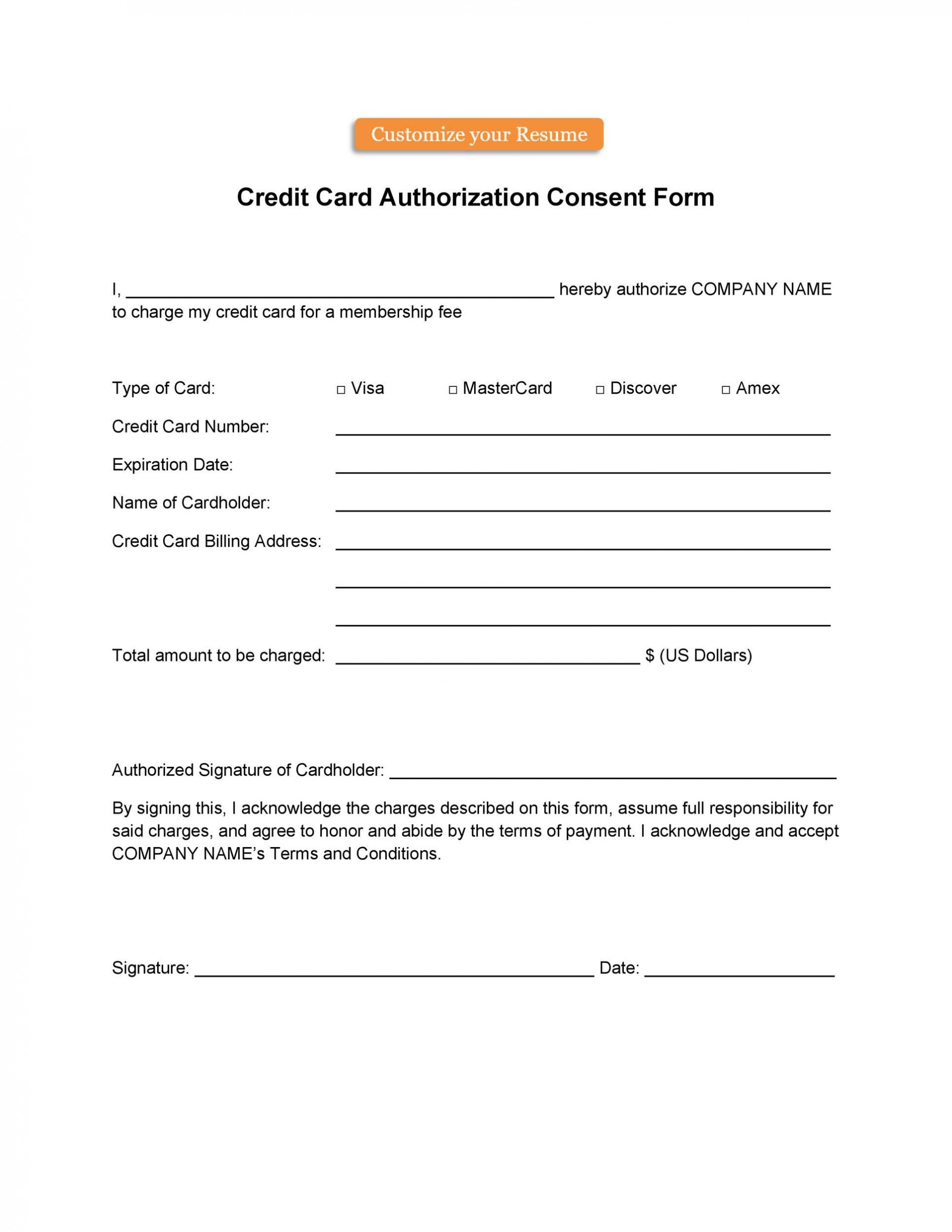 004 Astounding Automatic Credit Card Payment Authorization Form Template Highest Quality 1920