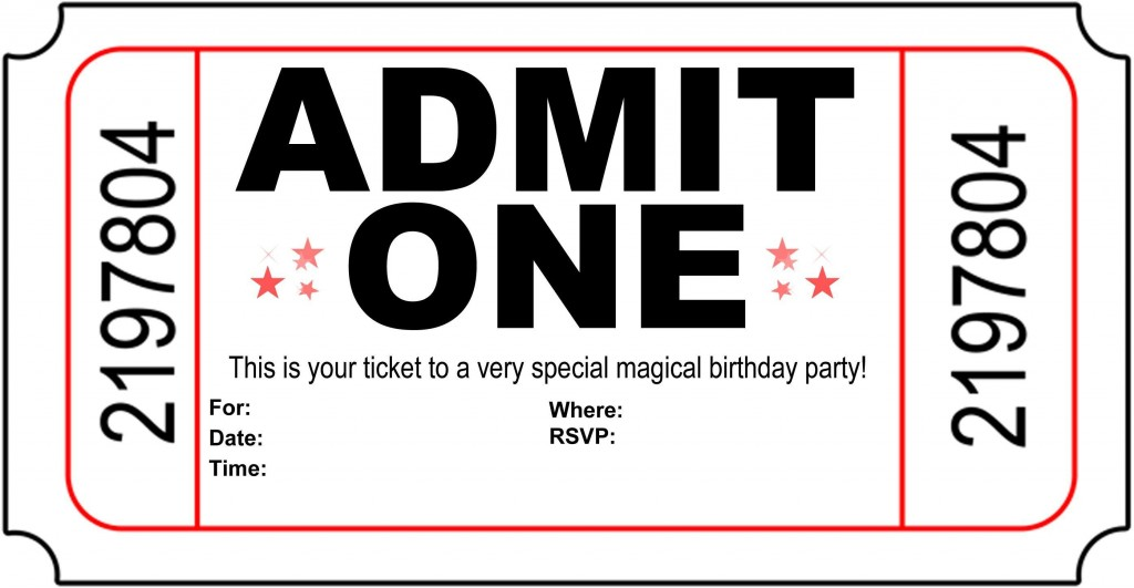 004 Astounding Free Printable Movie Ticket Birthday Party Invitation Inspiration Large