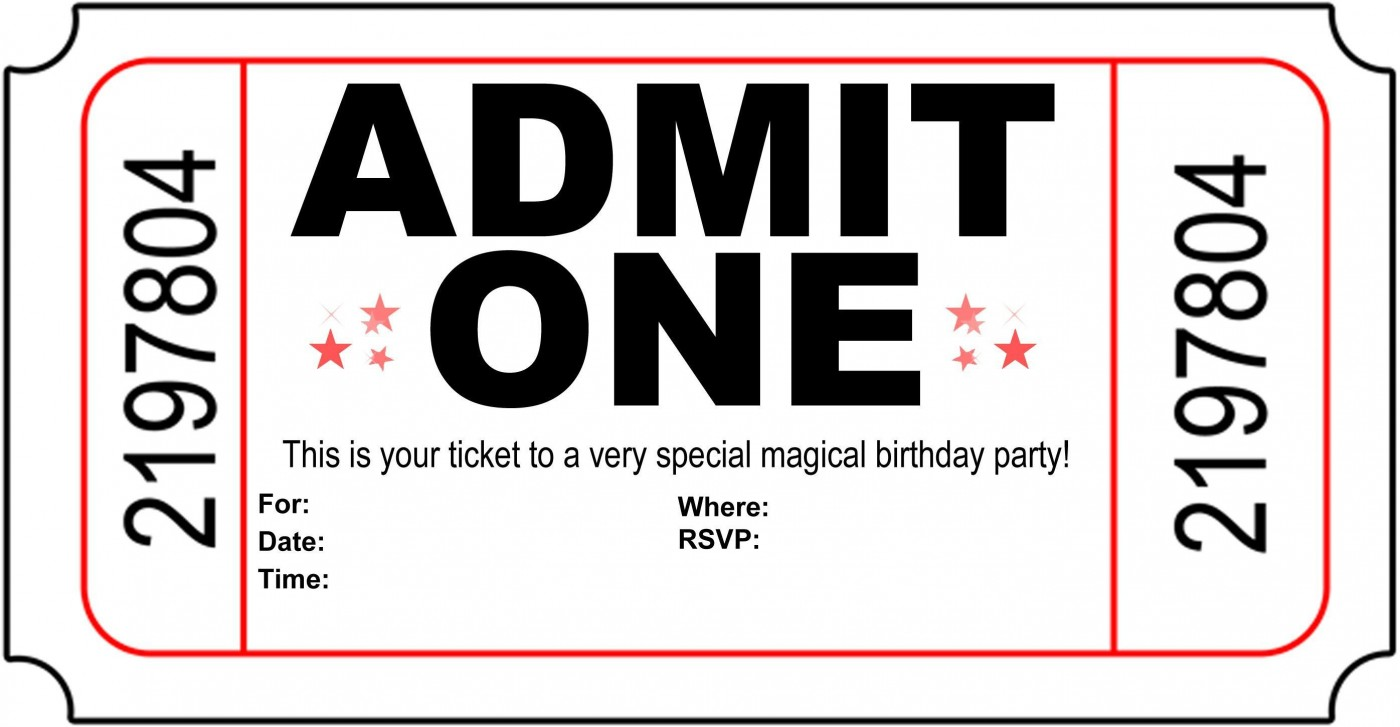 004 Astounding Free Printable Movie Ticket Birthday Party Invitation Inspiration 1400