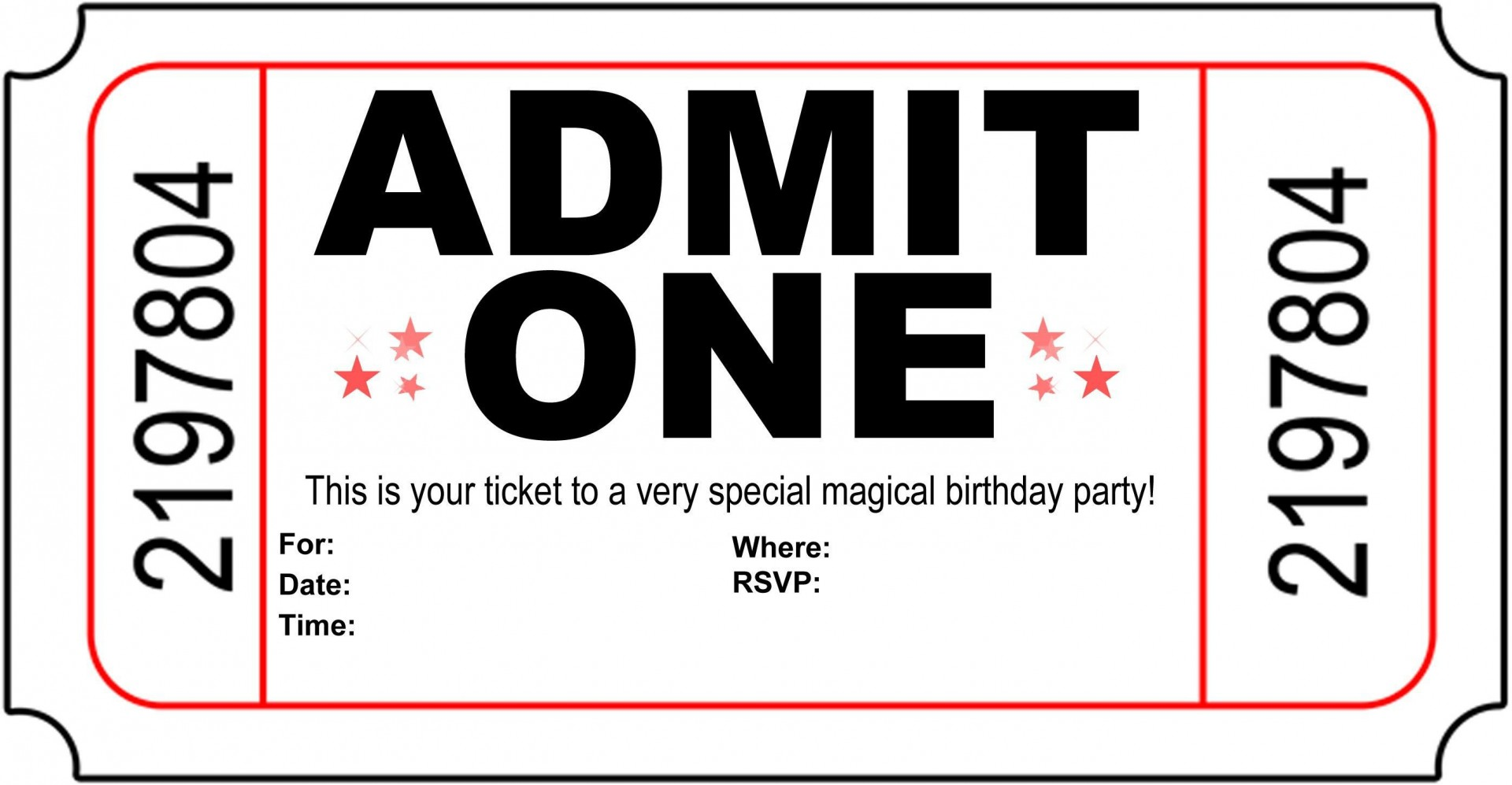 004 Astounding Free Printable Movie Ticket Birthday Party Invitation Inspiration 1920