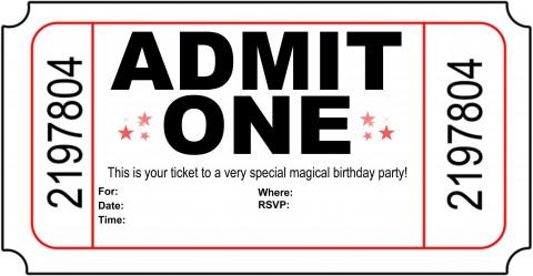 004 Astounding Free Printable Movie Ticket Birthday Party Invitation Inspiration 480