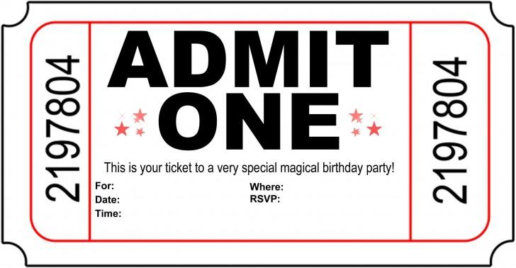 004 Astounding Free Printable Movie Ticket Birthday Party Invitation Inspiration 728