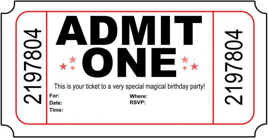 004 Astounding Free Printable Movie Ticket Birthday Party Invitation Inspiration 868