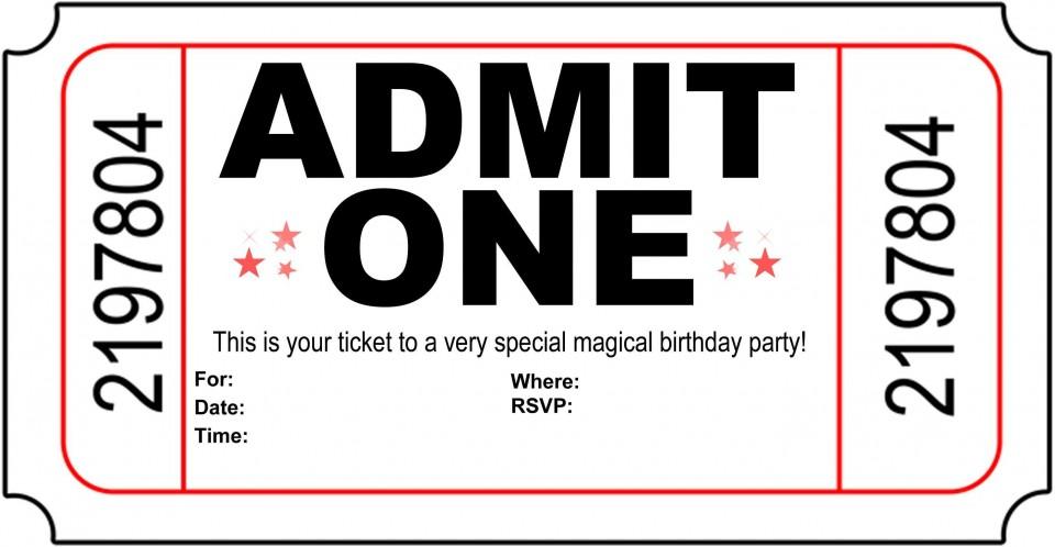 004 Astounding Free Printable Movie Ticket Birthday Party Invitation Inspiration 960