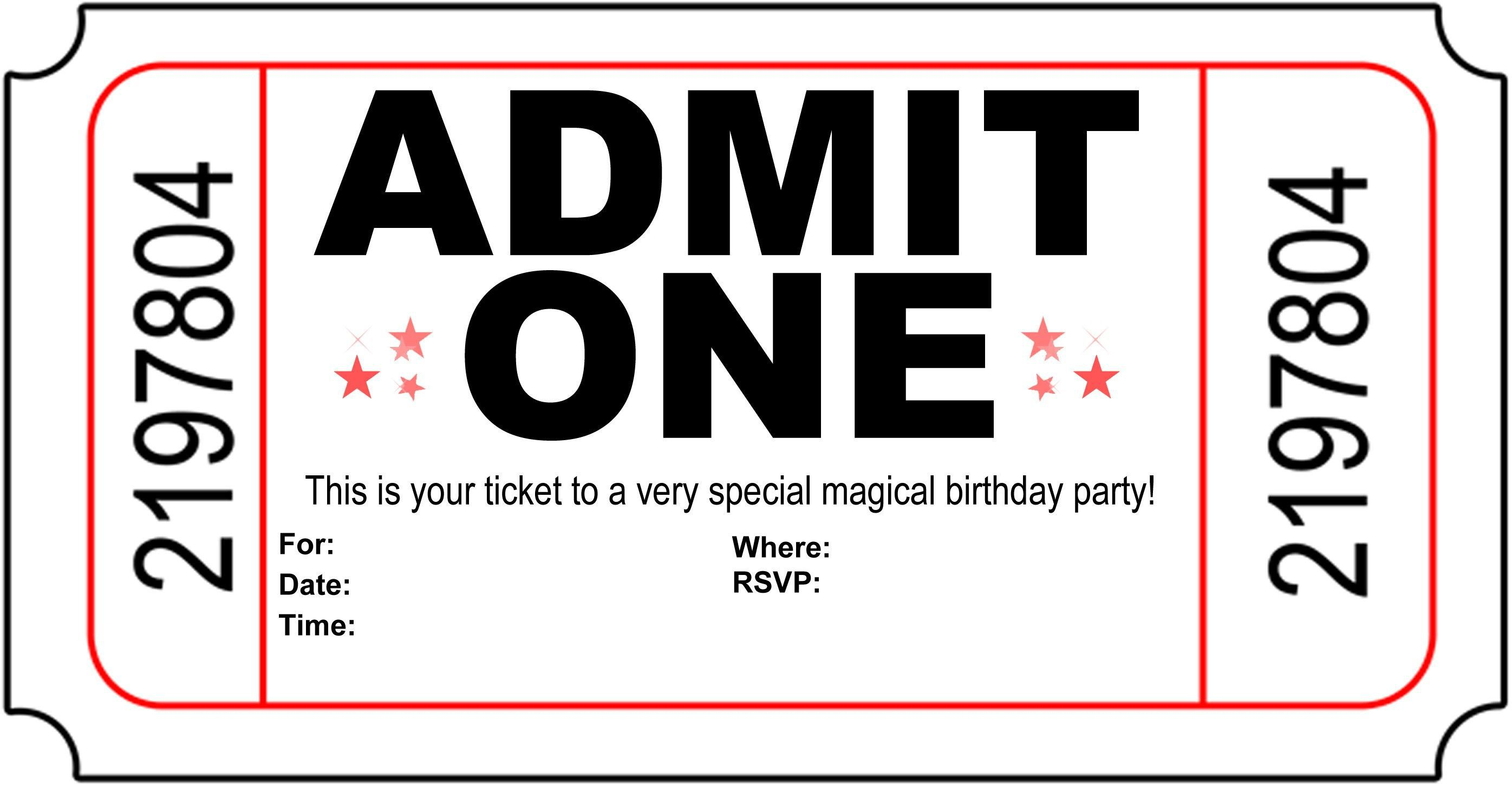 004 Astounding Free Printable Movie Ticket Birthday Party Invitation Inspiration Full