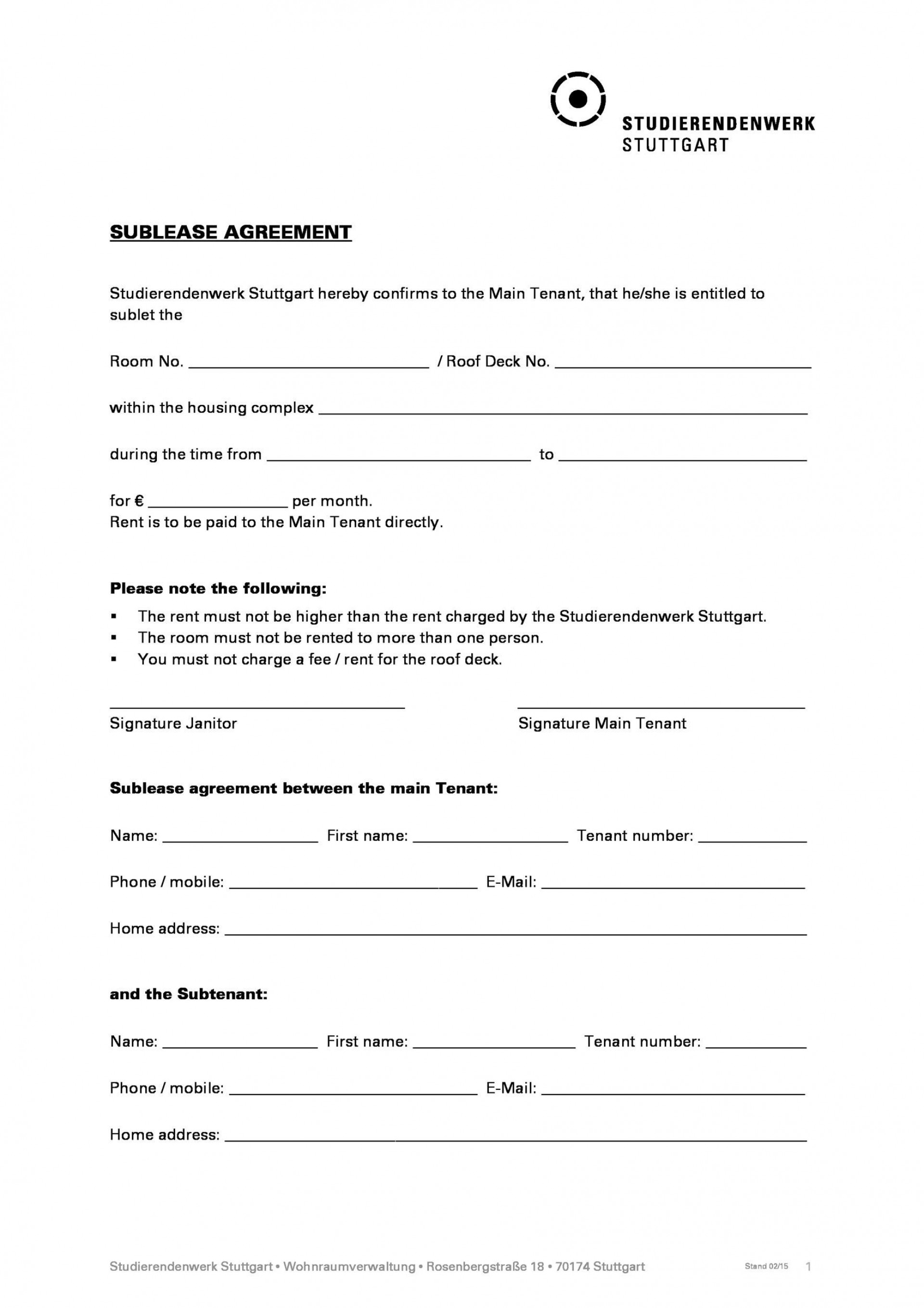 004 Astounding Free Sublease Agreement Template Pdf Inspiration  Room Rental Car Form Residential Lease1920