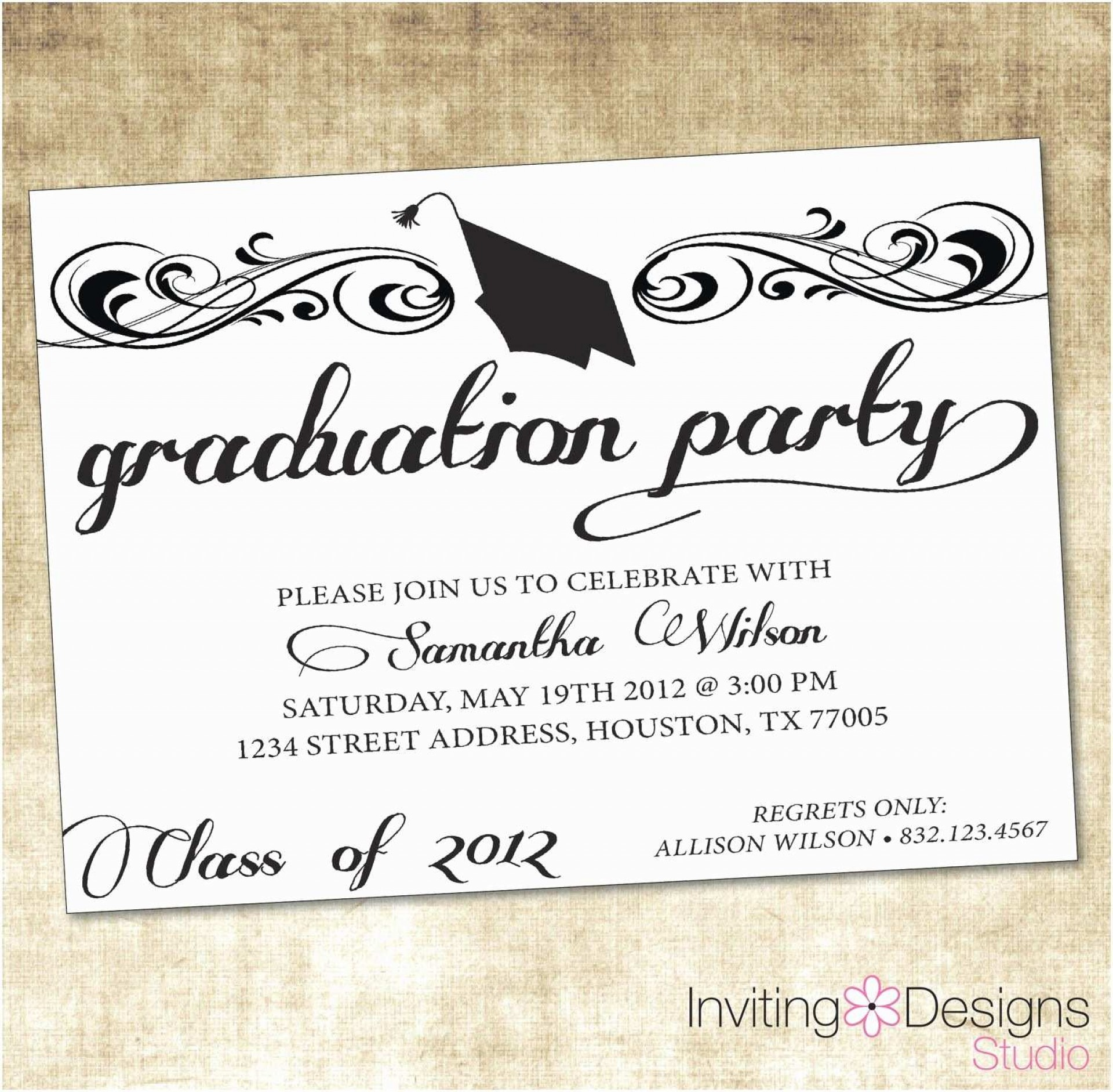 004 Astounding Graduation Party Invitation Template Design  Microsoft Word 4 Per Page1920