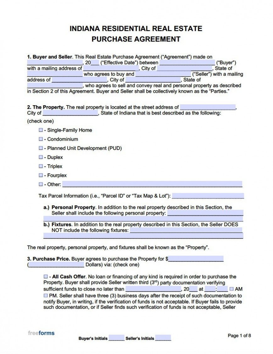 004 Astounding Real Estate Purchase Agreement Template Highest Quality  Sample Indiana Form California