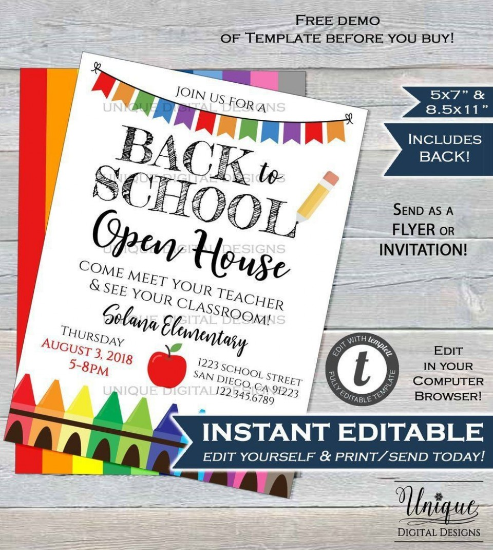 004 Astounding School Open House Flyer Template Concept  Elementary Free Word960