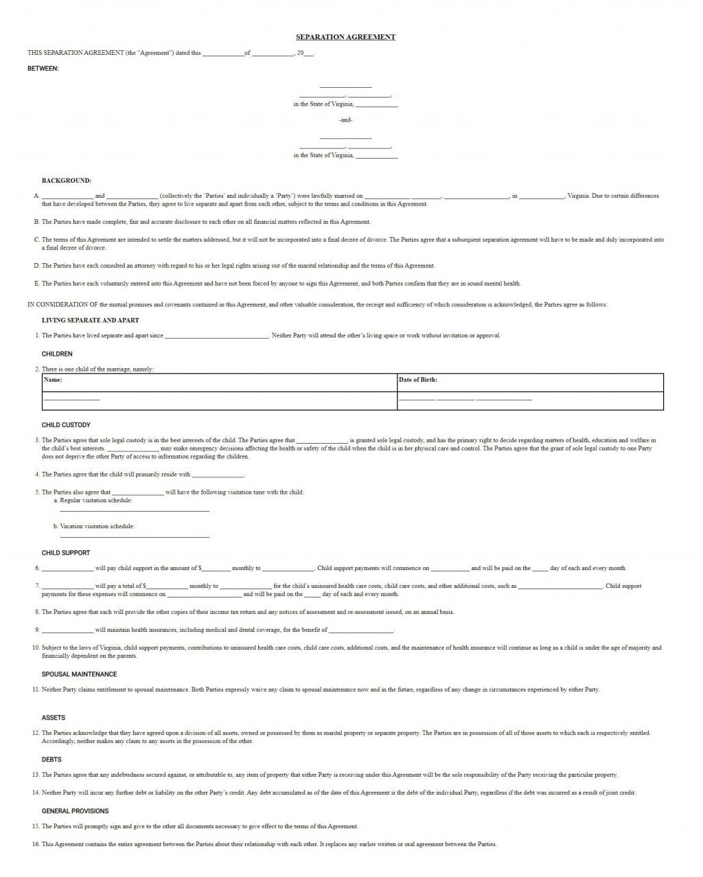 004 Astounding Virginia Separation Agreement Template Inspiration  Marital MarriageLarge