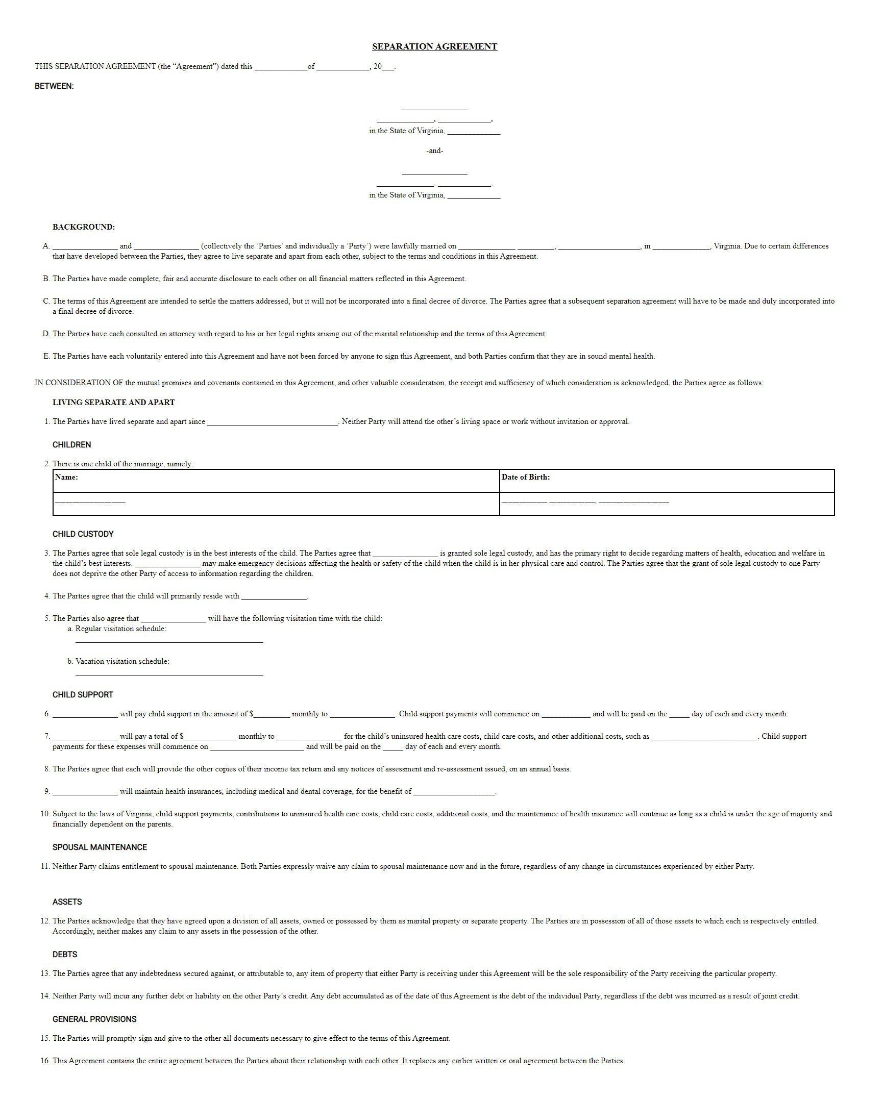 004 Astounding Virginia Separation Agreement Template Inspiration  Marital MarriageFull