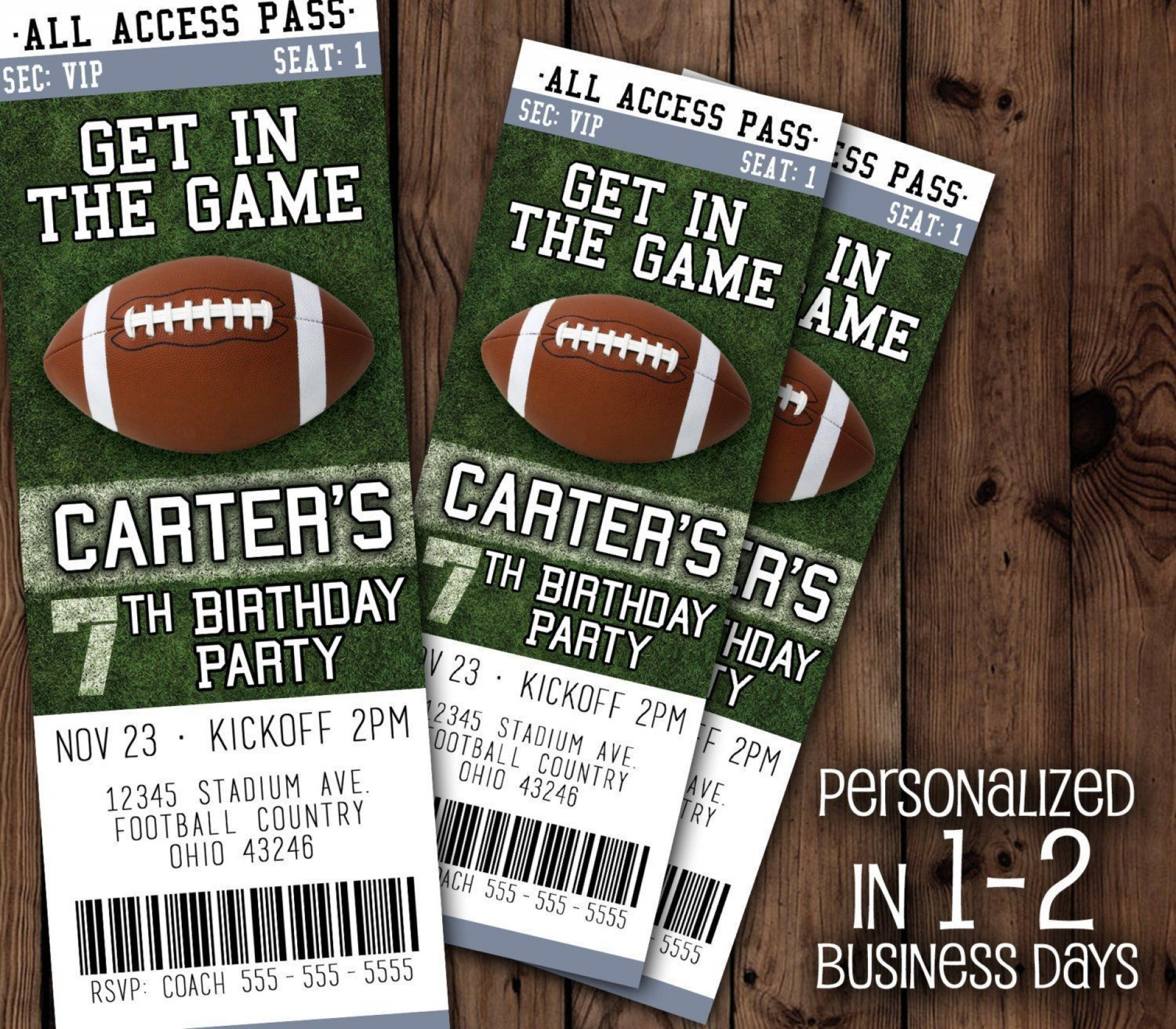 004 Awesome Football Ticket Invitation Template Free Picture  Printable Party Download1920