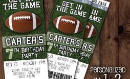 004 Awesome Football Ticket Invitation Template Free Picture  Printable Party Download