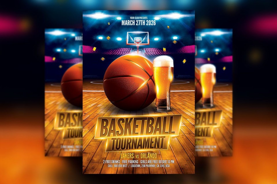 004 Awesome Free Basketball Flyer Template Idea  Game 3 On Tournament Word960