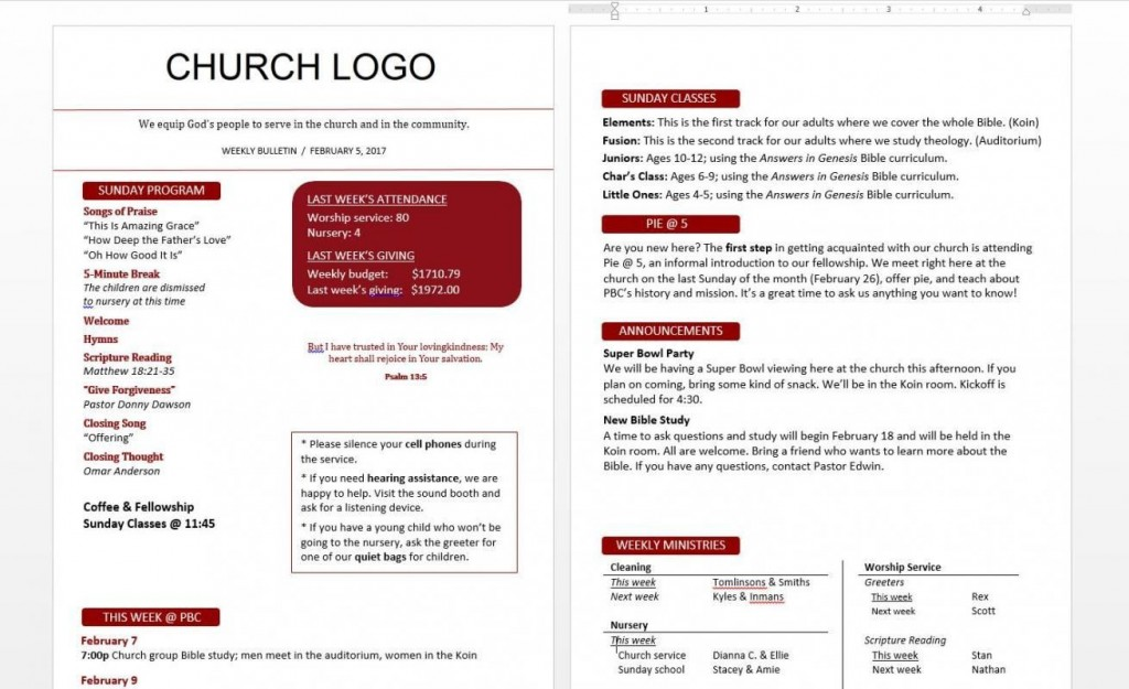 004 Awesome Free Church Bulletin Template Word Concept  Program ForLarge