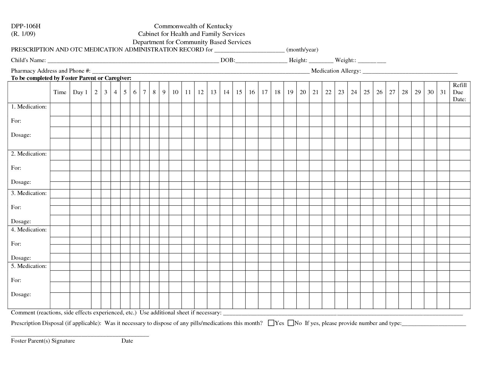 004 Awesome Medication Administration Record Template Photo  Download For Home UseFull
