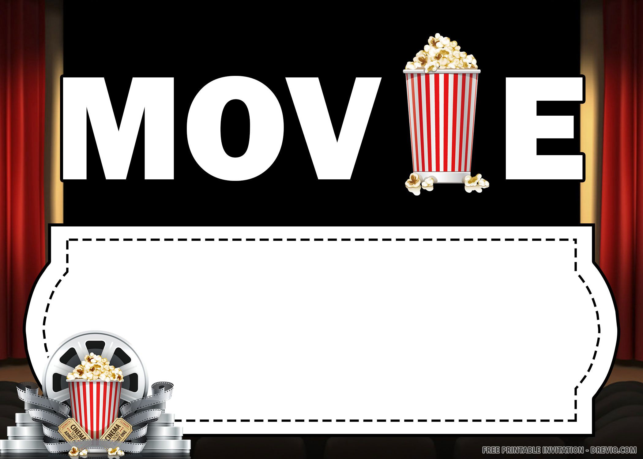 004 Awesome Movie Ticket Invitation Template Design  Blank Free Download Editable PrintableFull