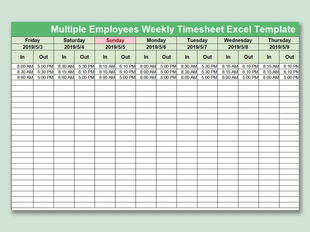 004 Awesome Multiple Employee Timesheet Template Picture  Schedule Job ExcelLarge
