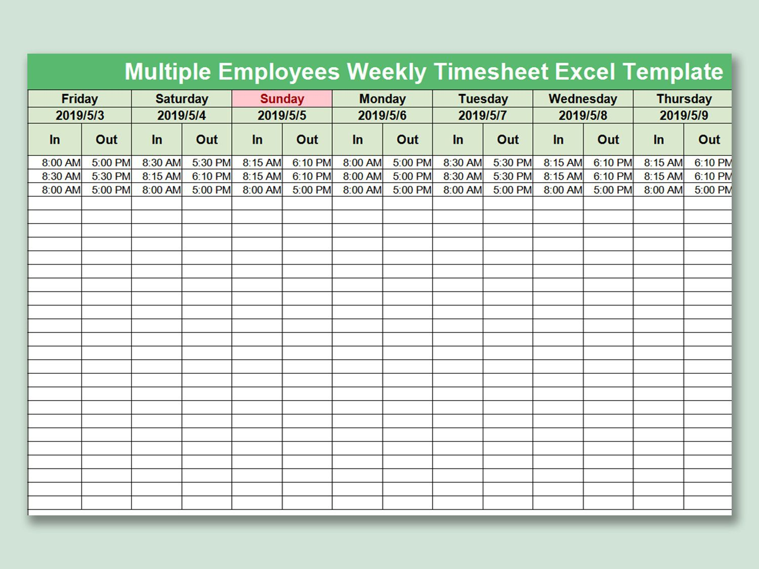 004 Awesome Multiple Employee Timesheet Template Picture  Schedule Job ExcelFull