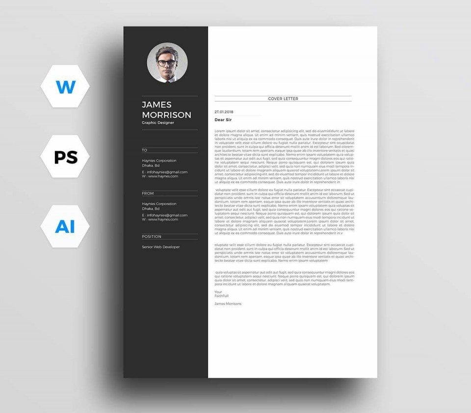 004 Awesome Resume Cover Letter Template Free Highest Clarity  Simple Online Microsoft960