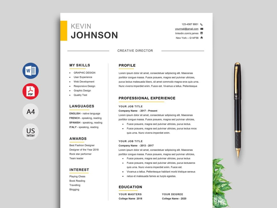 004 Awesome Resume Template M Word 2020 Concept  Free Microsoft960