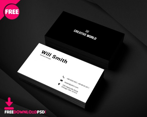 004 Awesome Simple Busines Card Template Psd Design  In Photoshop Minimalist Free480