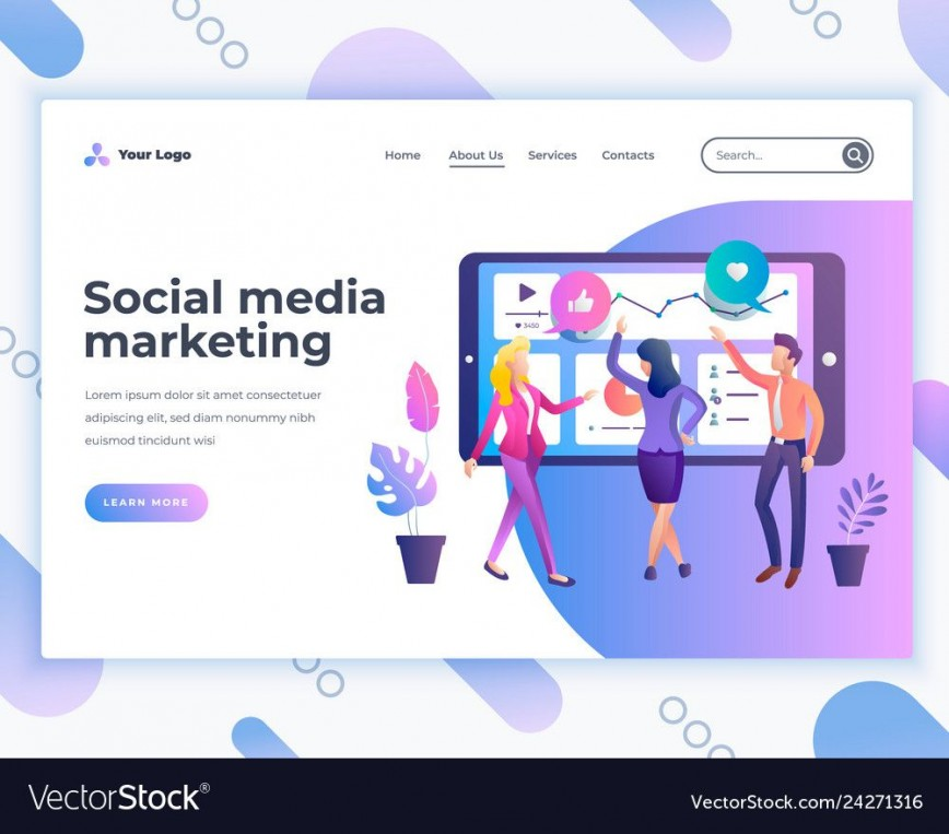 004 Awesome Social Media Marketing Template Highest Quality  Free Wordpres Ppt868