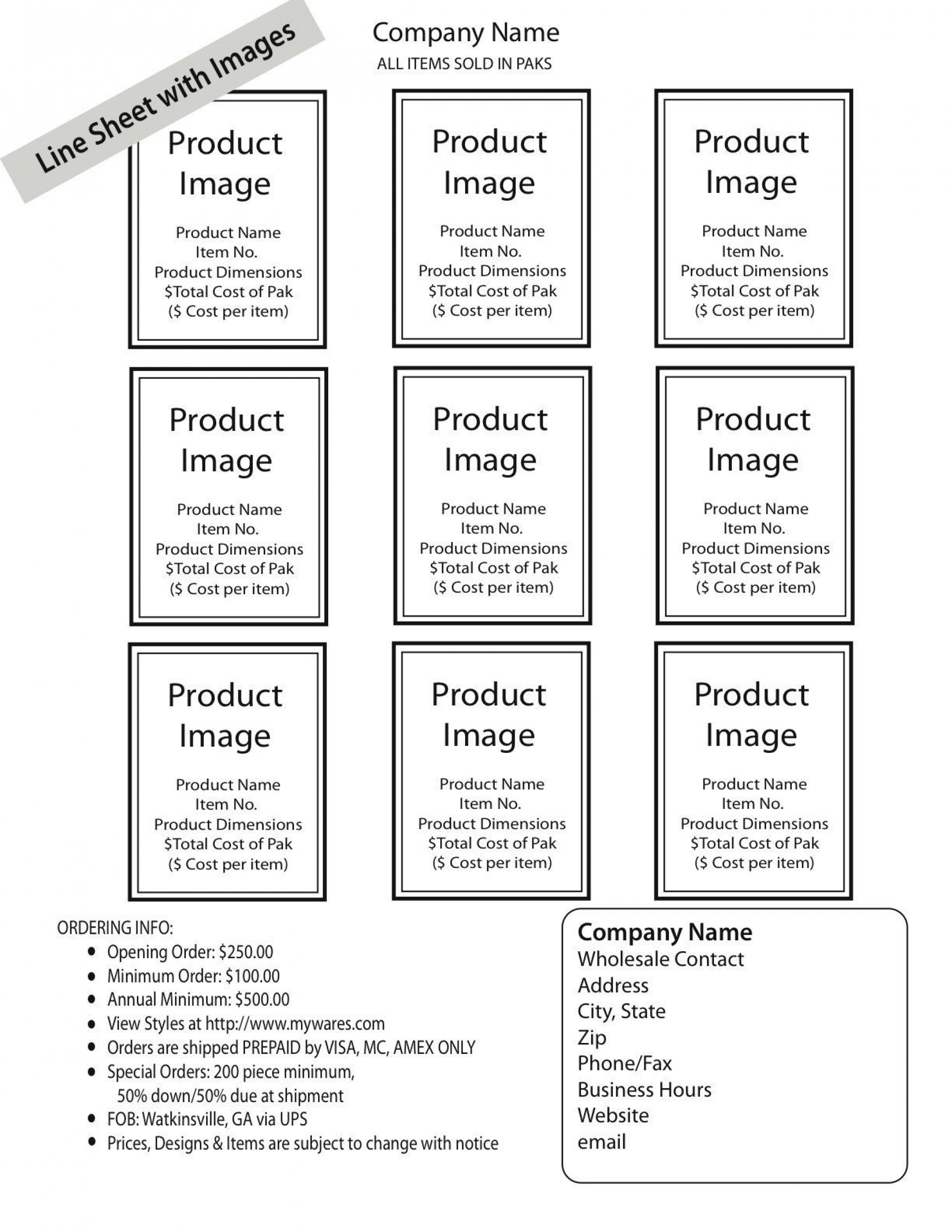 004 Awesome Wholesale Line Sheet Template Idea  Excel1920
