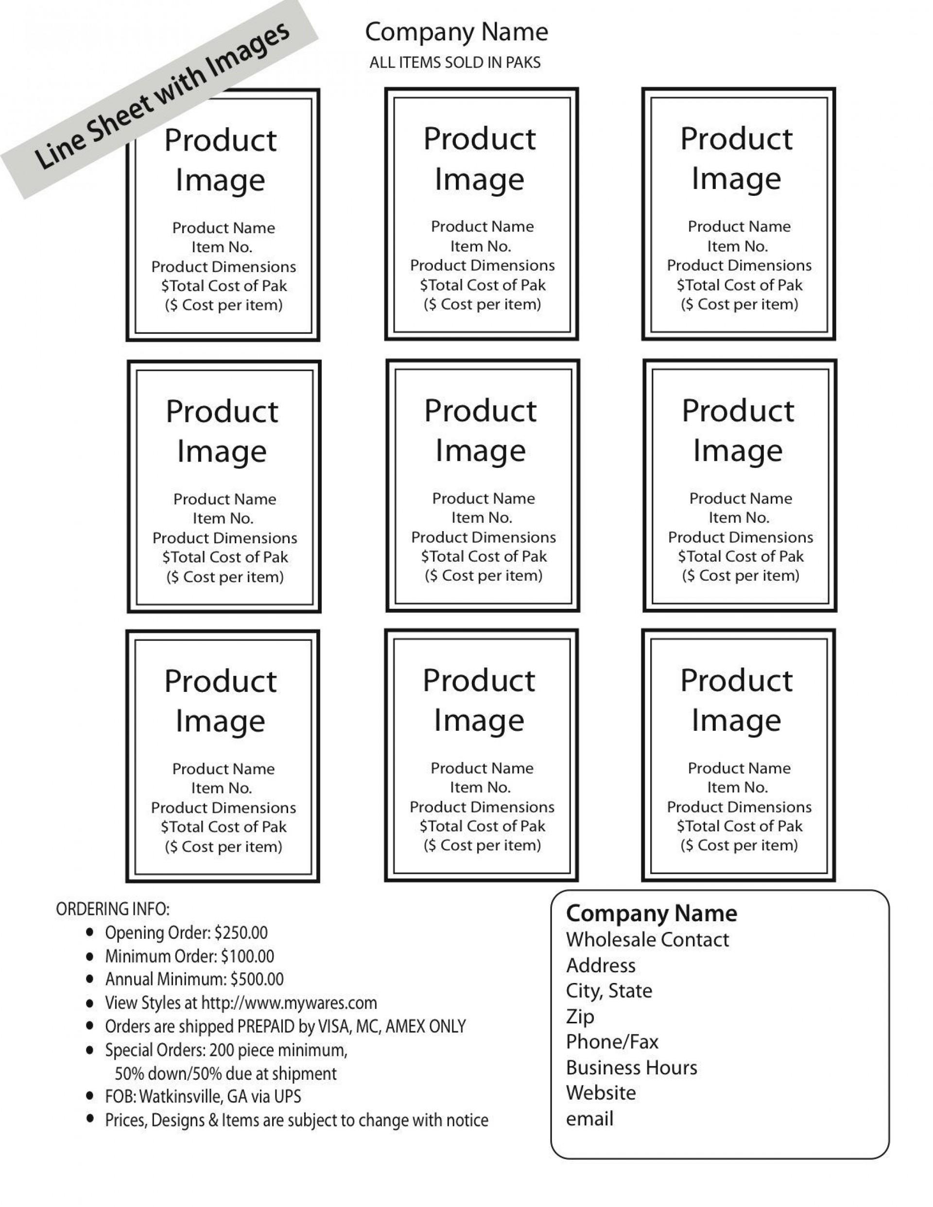 004 Awesome Wholesale Line Sheet Template Idea  Fashion Free Excel1920