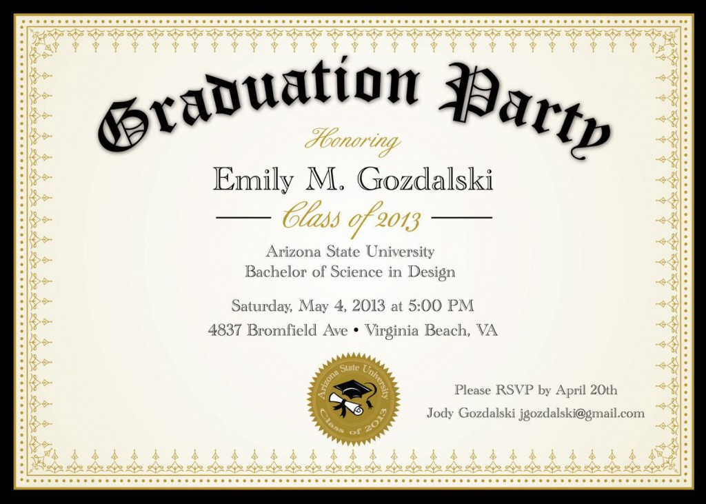 004 Awful College Graduation Party Invitation Template Highest Quality  TemplatesLarge