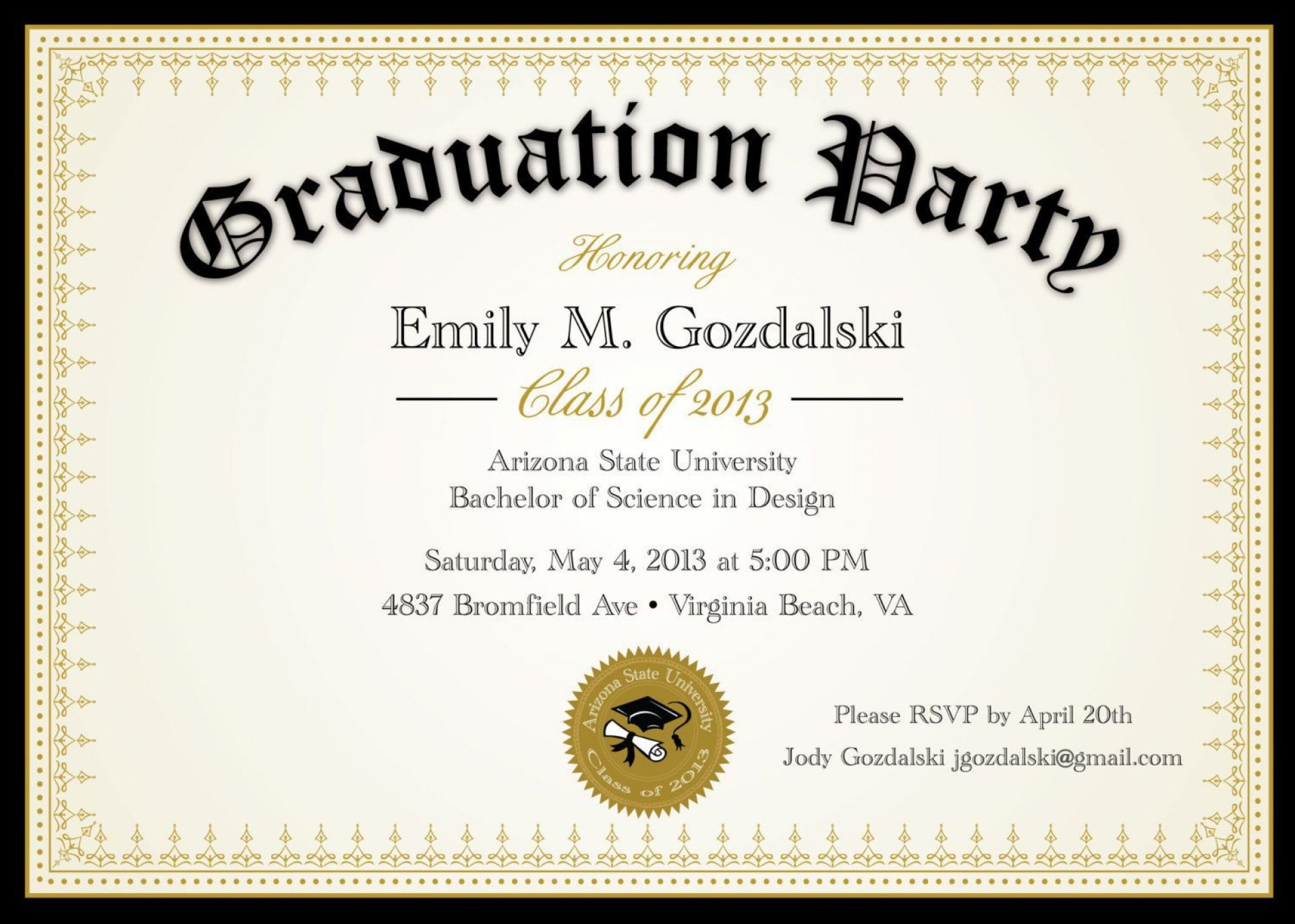 004 Awful College Graduation Party Invitation Template Highest Quality  Templates1920