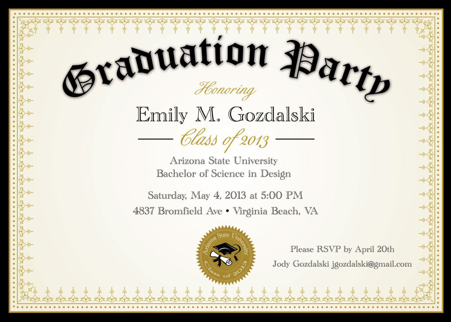 004 Awful College Graduation Party Invitation Template Highest Quality  TemplatesFull