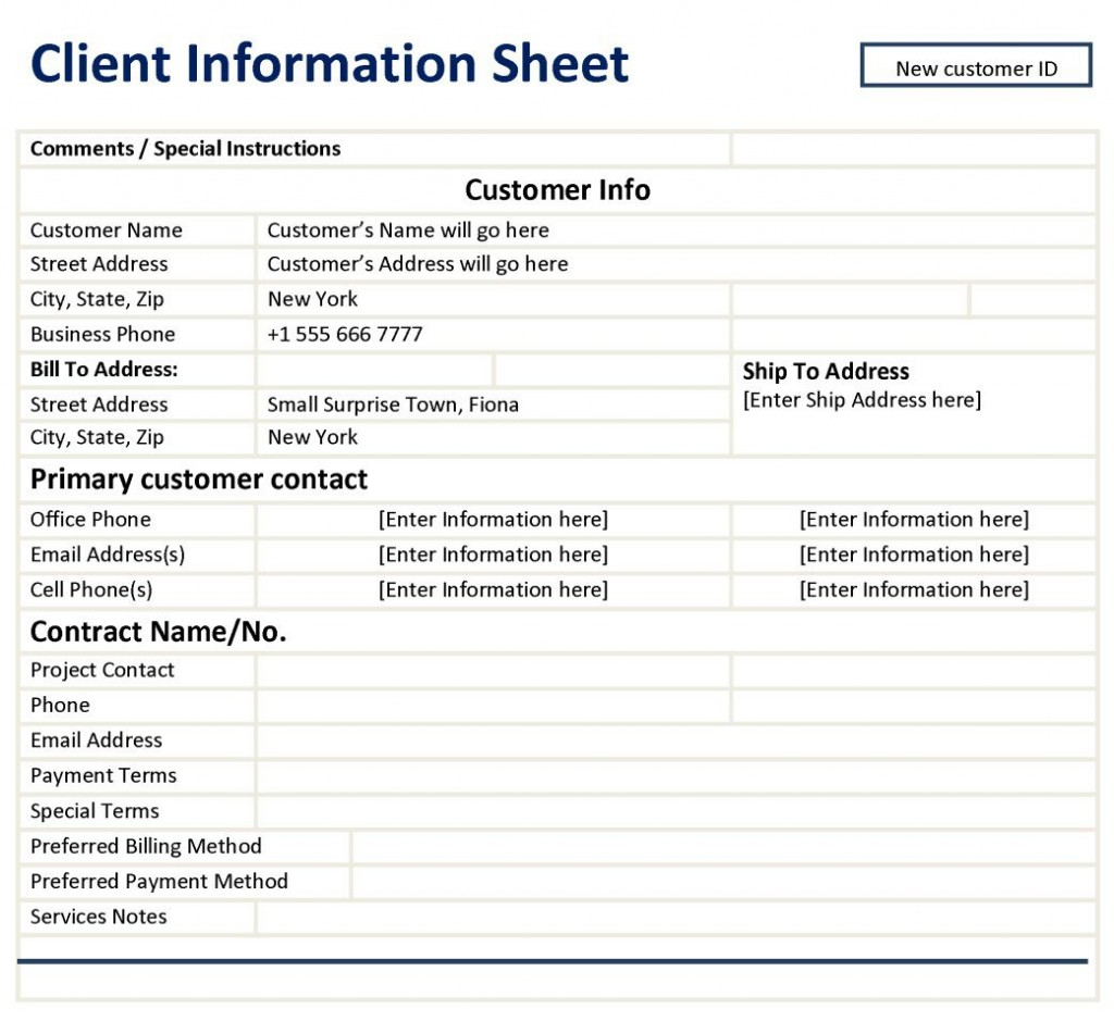 004 Awful Customer Information Sheet Template Highest Quality  New Info Excel SpreadsheetLarge