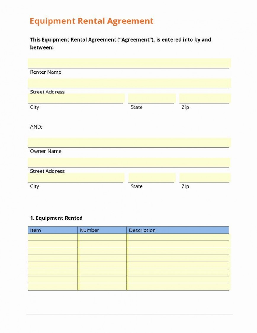 004 Awful Equipment Rental Agreement Template Image  Doc Free Australia Word