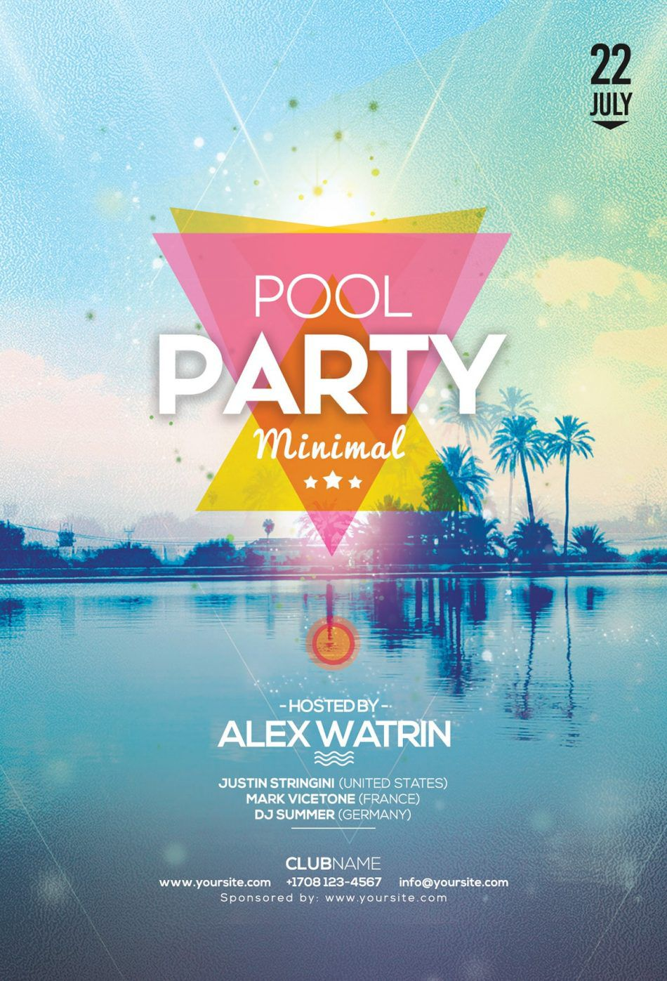 004 Awful Free Pool Party Flyer Template Psd Example  PhotoshopFull
