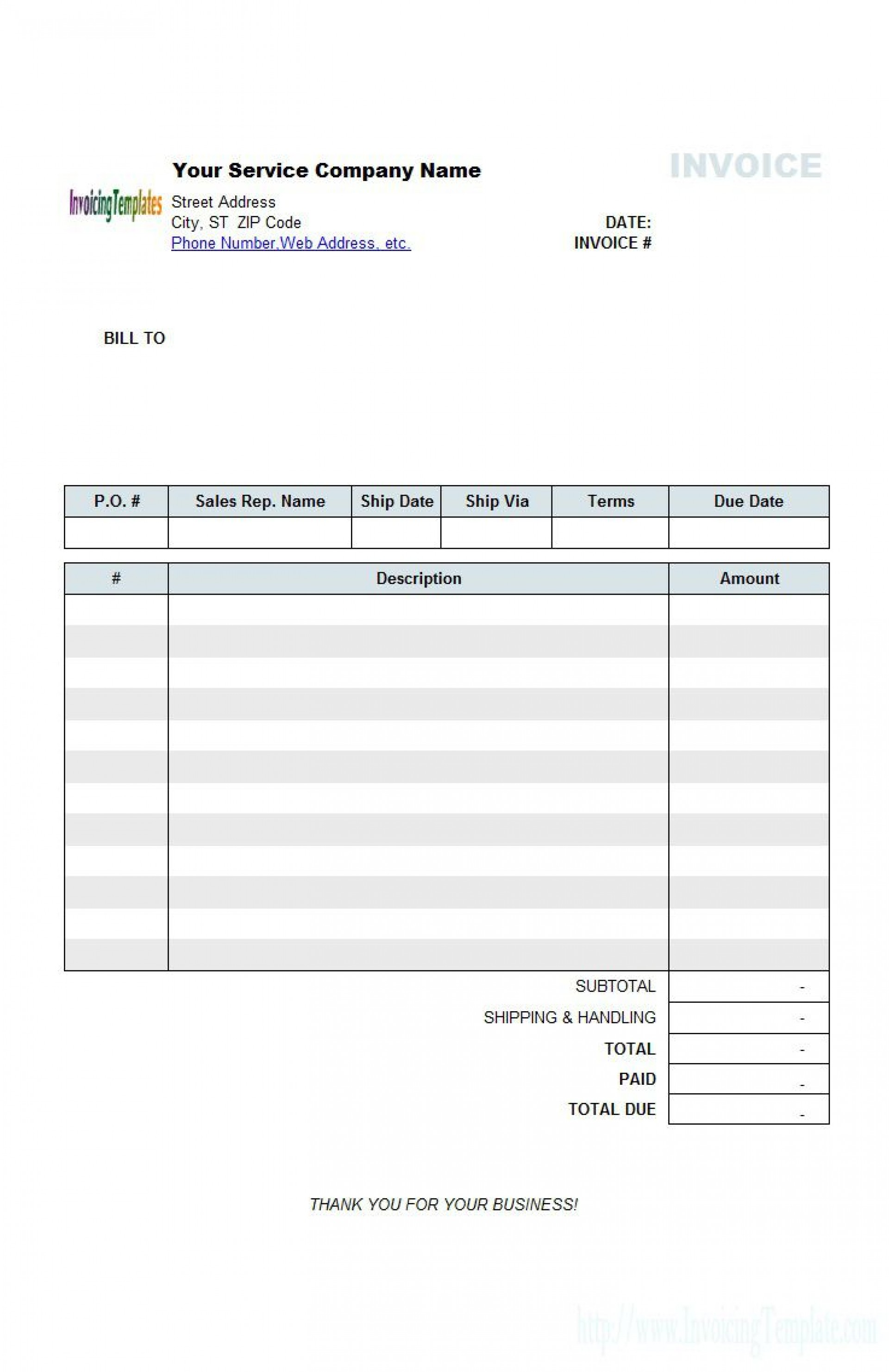 004 Awful Generic Service Invoice Template Picture 1920