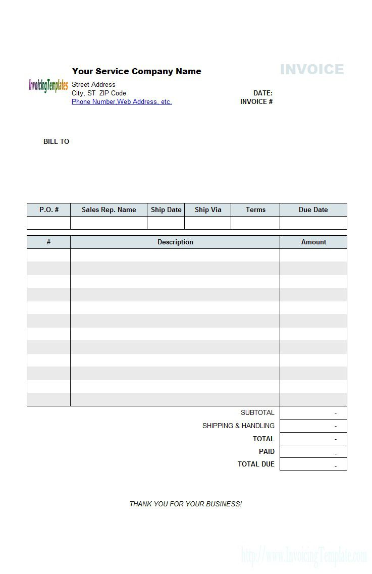 004 Awful Generic Service Invoice Template Picture Full