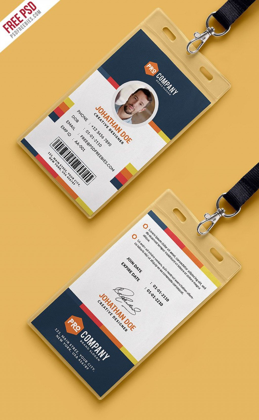 004 Awful Id Badge Template Photoshop High Def  EmployeeLarge