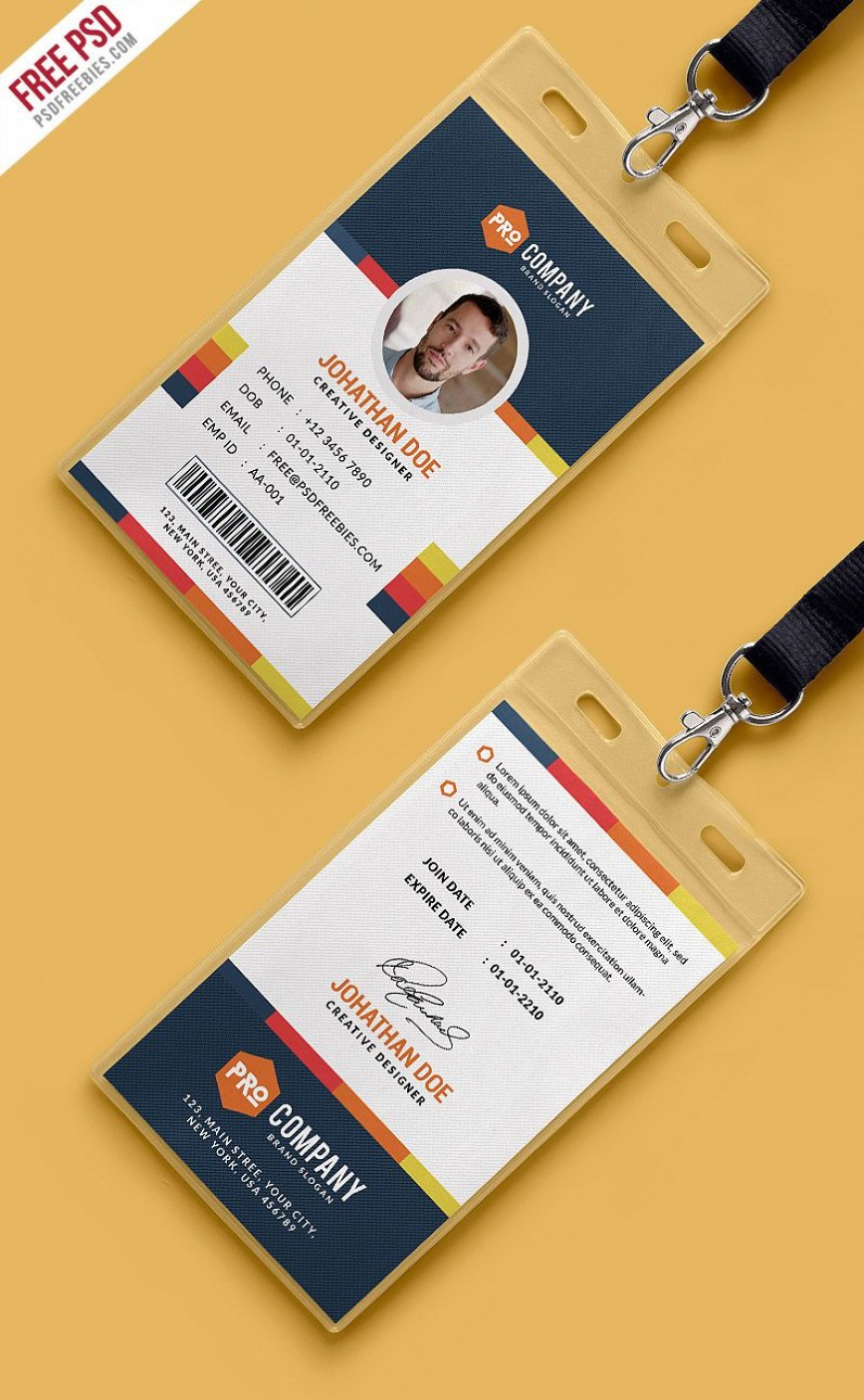004 Awful Id Badge Template Photoshop High Def  Employee868